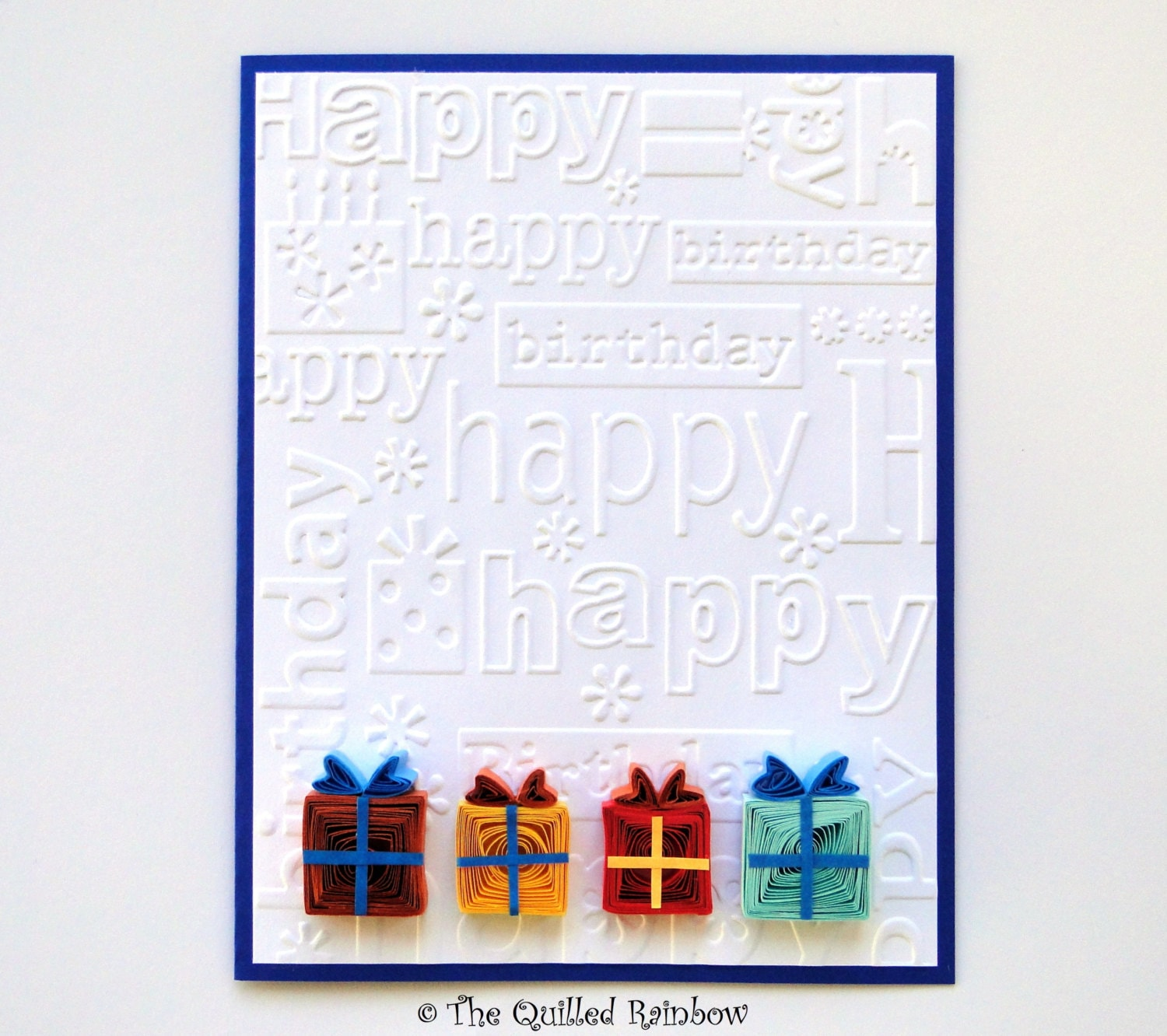 quilled birthday card colorful quilled gift boxes birthday etsy. Black Bedroom Furniture Sets. Home Design Ideas