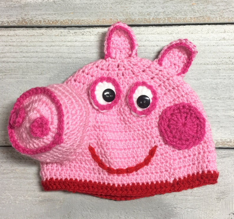 Peppa Pig Crochet Hat,Daddy Pig, Mummy Pig, George Pig Available on request