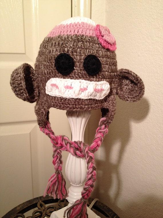 Sock Monkey Baby Girl Hat baby monkey animal girl tassel  18ffaa5c53d7