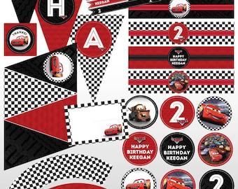 Disney Pixar Cars Custom Printable Birthday Party Package Kit Lightening McQueen Racing Checkered Flag, Red, Black