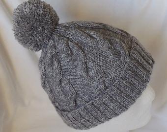 Winter Hat - Men s Beanie - Women s Beanie - SMALLER SIZE 20-22 inches  (51-56 cms) - Medium Grey Hat - Bobble Hat - Chunky Knit Hat 87b119f6053