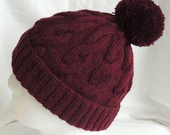 Claret Cable Knit Beanie - Claret Ski Hat - Bobble Hat - Men's Beanie - Women's Beanie - Winter Hat - Pom Pom Hat - Chunky Knit Hat