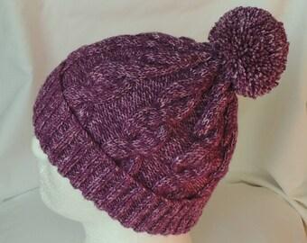 Plum Batik Hat -  Cable Knit Beanie - Hand Knit Hat - Plum Ski Hat - Bobble Hat - Women's Beanie - Winter Hat - Pom Pom Hat