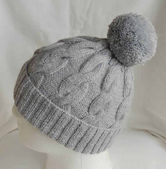 bc5ebcac34efa Pale Grey Cable Knit Beanie Soft Knit Hat Grey Ski Hat