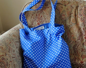 Royal and White - Polka Dot Tote Bag - Shopping Bag - Strong Tote Bag - Gift For Her - Craft Bag - Reusable Bag - Handmade Bag - Market Bag