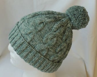 Sage Green Cable Knit Beanie - Chunky Knit Hat - Green Ski Hat - Bobble Hat - Men's Beanie - Women's Beanie - Winter Hat - Pom Pom Hat