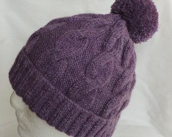 Women's Winter Hat - Purple Beanie - BoHo Hat -Cable Knit Beanie - Purple Ski Hat - Bobble Hat - Women's Beanie - Winter Hat - Pom pom Hat