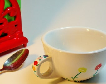Hand Painted Vintage Cup, Gifts for 10.00, Repurposed Cup, Floral Pattern