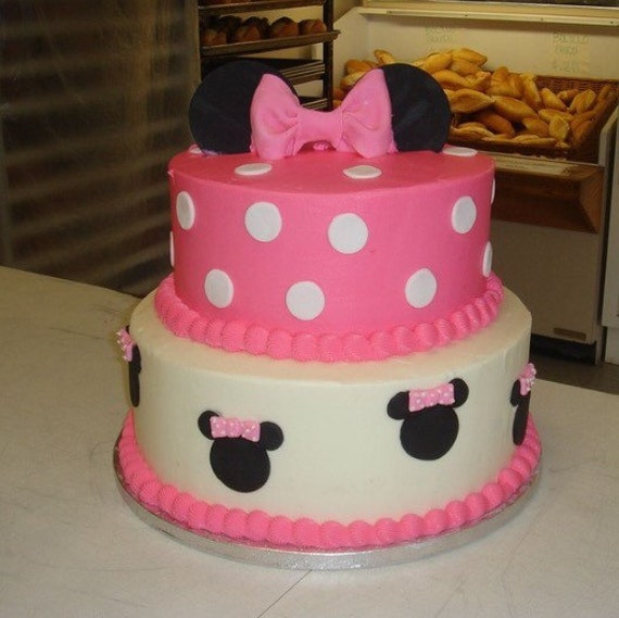 Prime Minnie Mouse Birthday Cake 2 Tiers Etsy Funny Birthday Cards Online Overcheapnameinfo