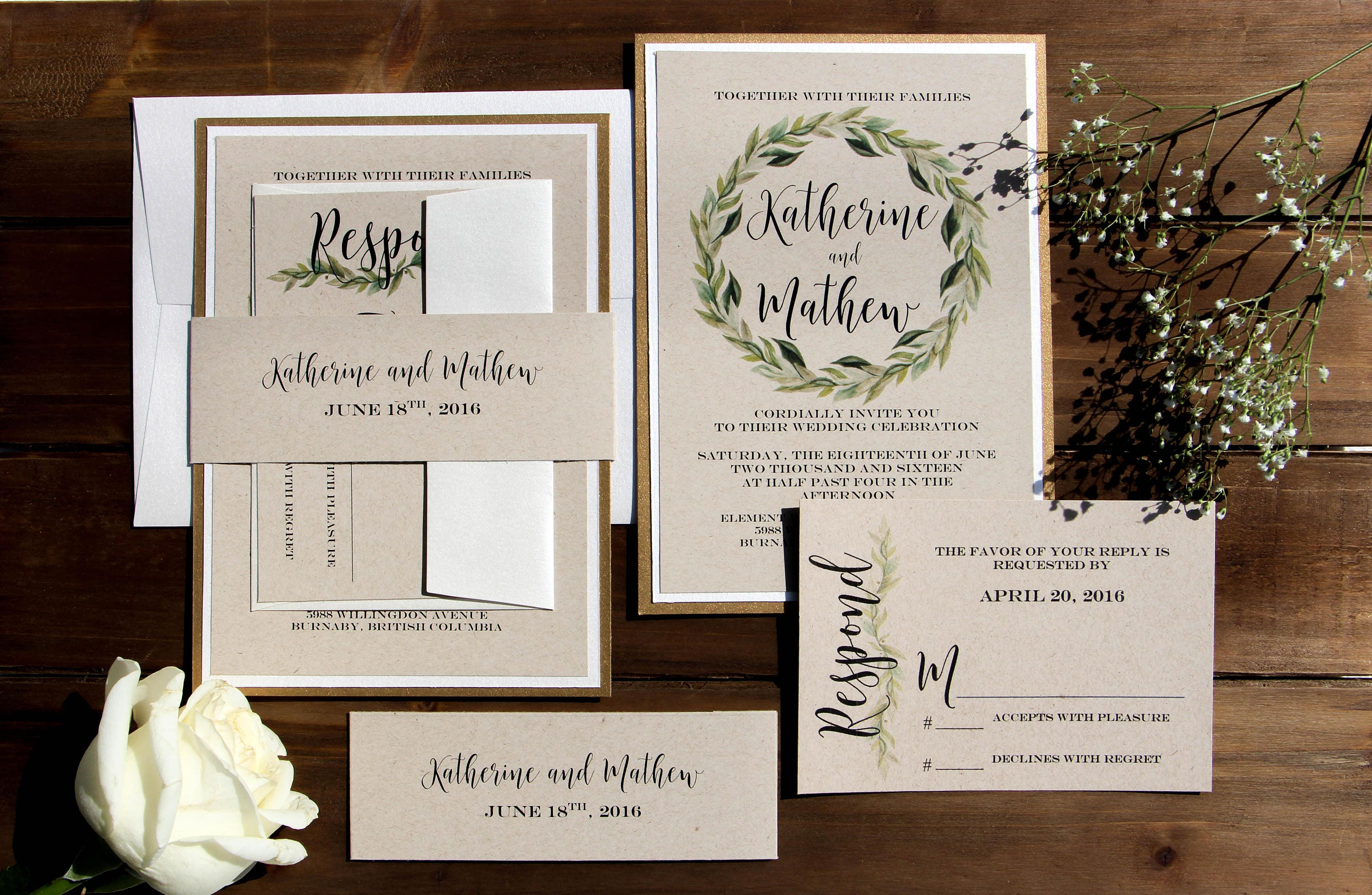 Cream And Gold Wedding Invitations: Gold And Cream Rustic Kraft Wedding Invitation Greenery