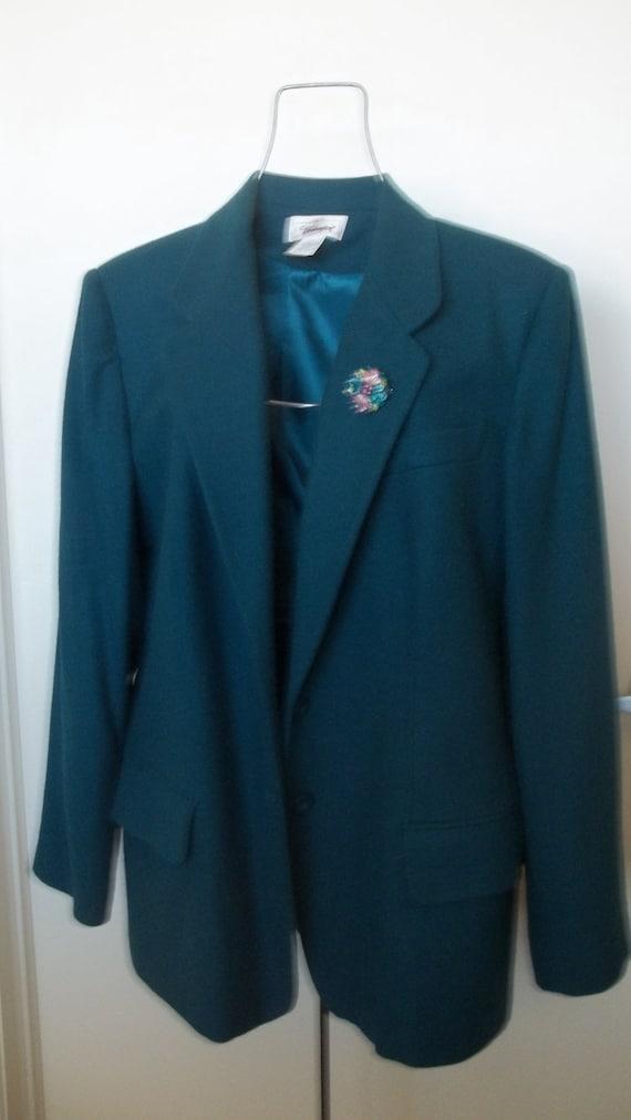 1980s vintage teal blue blazer