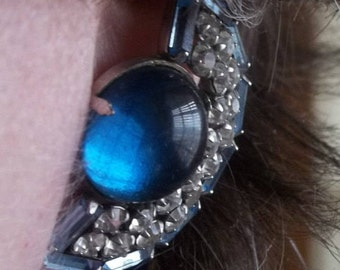 1950s vintage blue fan shaped Rhinestone earrings, clip on