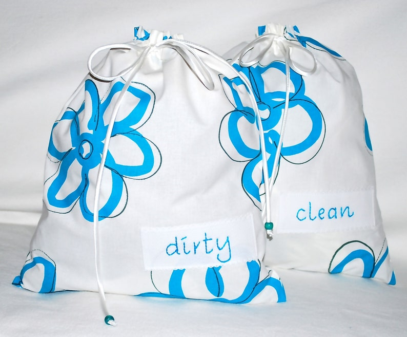 white with blue flowers Travel lingerie bags