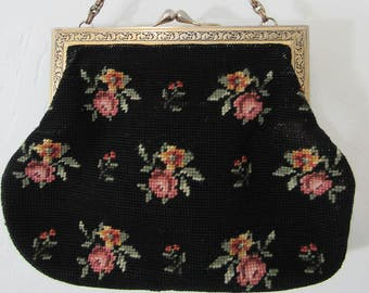 1960s Needlepoint Tapestry Handbag with Roses and Ornate Metal Clasp