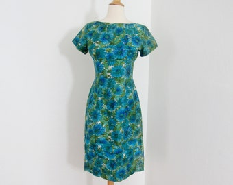 1950s Green & Blue Floral Silk Wiggle Dress