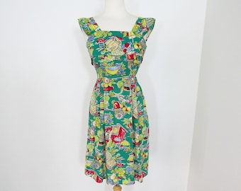 1940s Colorful Cotton Novelty Print Dress