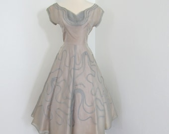Lovely 1950s Grayish Blue Organdy Dress with Soutache Embroidery and Pleated Details