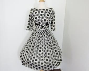 Classic 1950s Black and White Polkadot Chiffon Dress