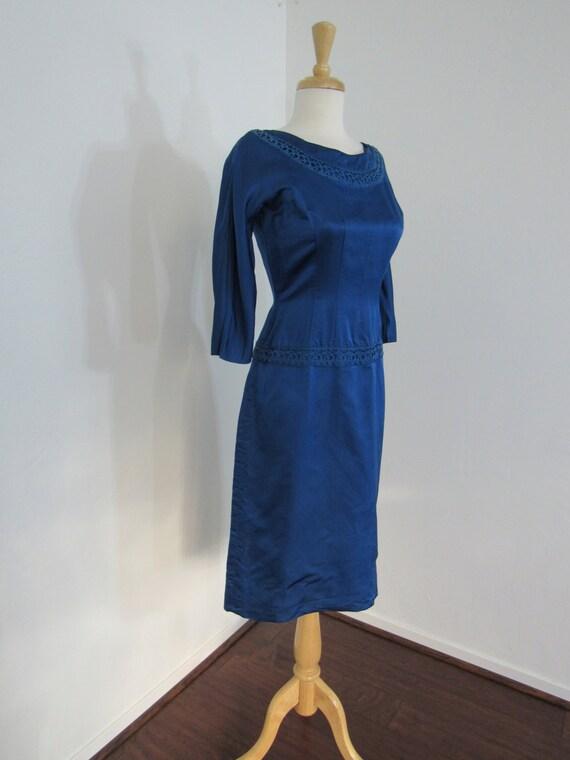 1950s Royal Blue Silk Satin Wiggle Dress
