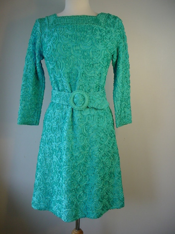 1960s Turquoise Soutache Embroidered Ribbon Dress