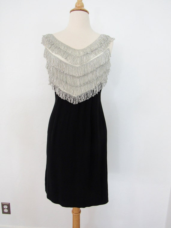 1950s - Early 1960s Black Crepe Wiggle Dress with