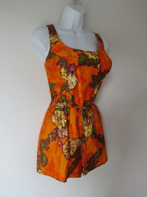 1950s - Early 1960s Tropical Print Swimsuit / Suns