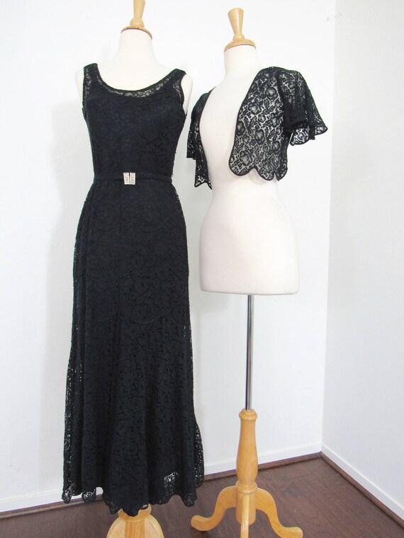 1930s Black Lace Dress with Matching Bolero, Slip