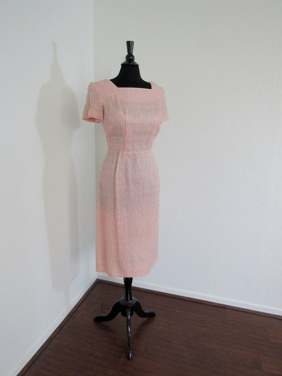 1950s Ruched Pink Organdy Wiggle Dress
