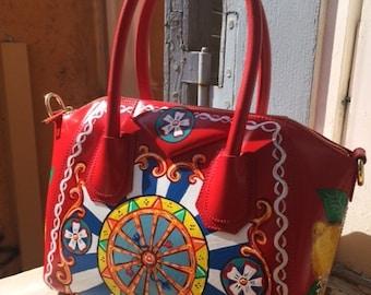 c08f905fa5 CUSTOM Designer Inspired Sicilian Carretto Style Print Handbag