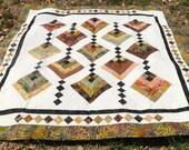 "Bed Size Quilt 76"" x 76""- Hanging Gardens Earth Tones Quilt - Batik Quilt - Handmade Diamond Quilt - Quiltsy Handmade"