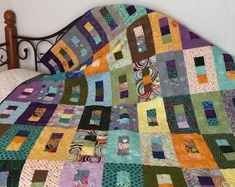 """Modern Solid Colors Lap Quilt 54"""" x 60"""" - Grunge Fabric Lap Quilt - Couch Size Quilt - Multicolored Quilt"""