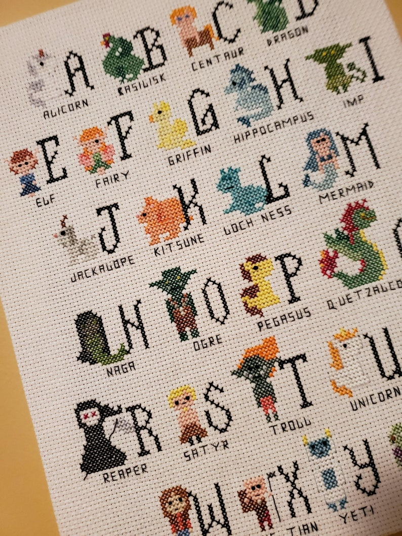 Fantasy Creatures Alphabet  FINISHED CANVAS-STYLE image 0