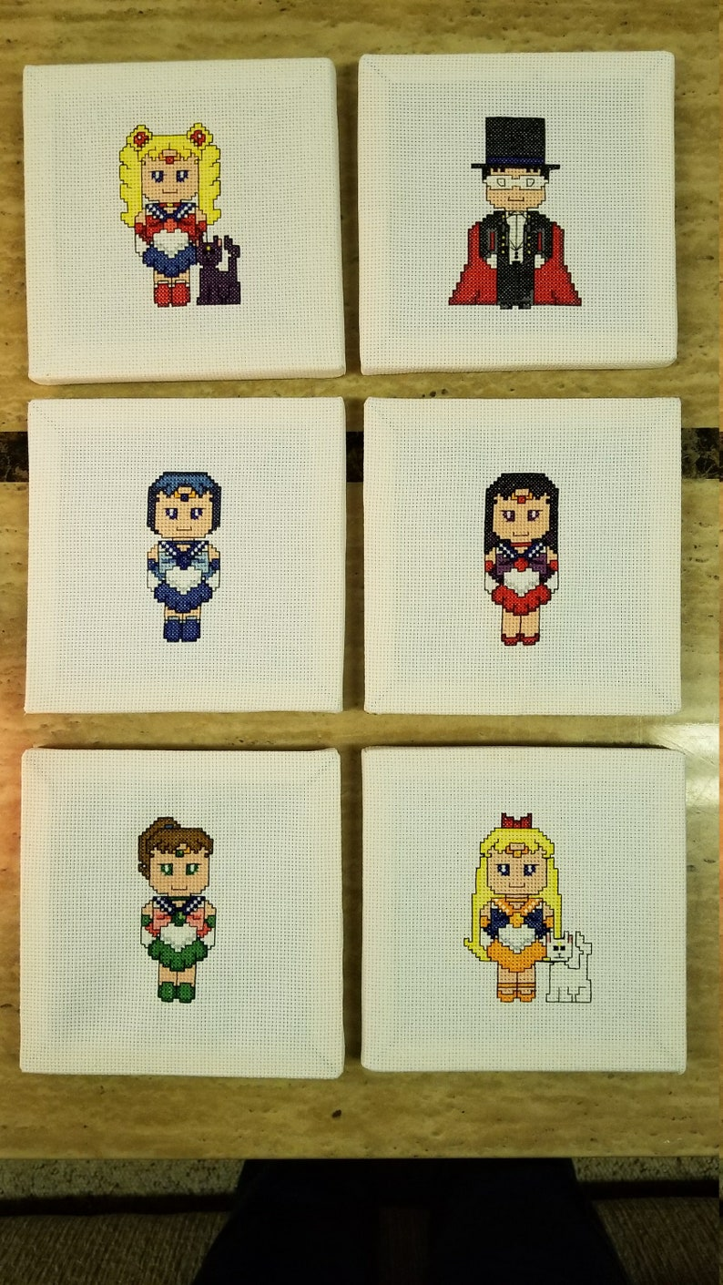 Sailor Moon Finished Canvas-Style Cross Stitch wall hangings