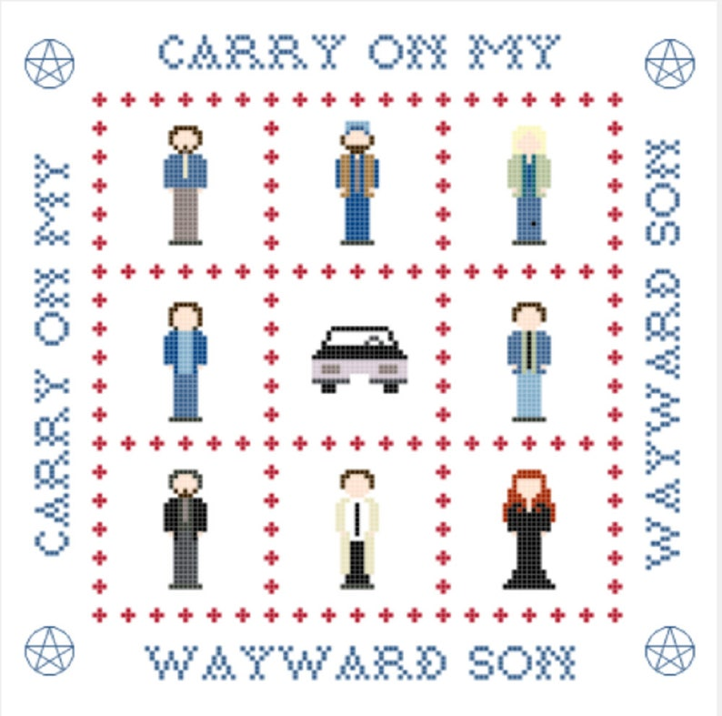 Wayward Sons Supernatural Cross Stitch Sampler Pattern image 0