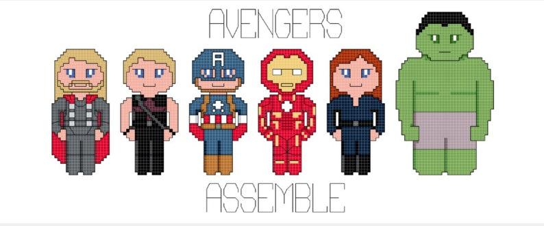 Avengers Assemble Cross Stitch Pattern only DIGITAL image 0