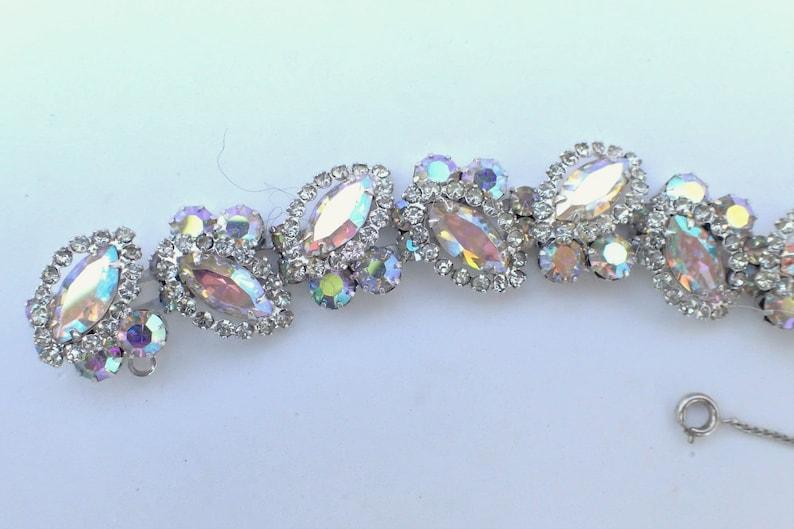 WEISS Bracelet Brooch earring set aurora borealis clear rhinestones AB047