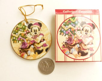 Walt Disney Mickey Mouse The Merriest Place On Earth Ceramic Collectors Ornament