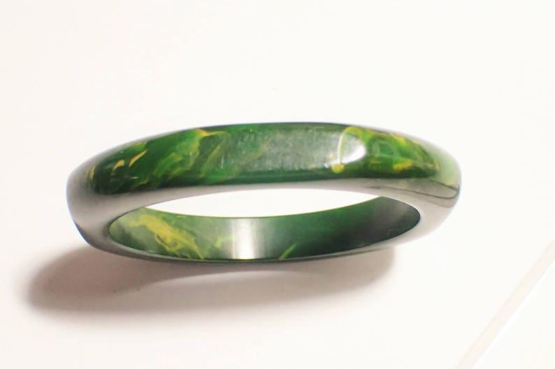 Bakelite Square Spinach Green Bangle Bracelet