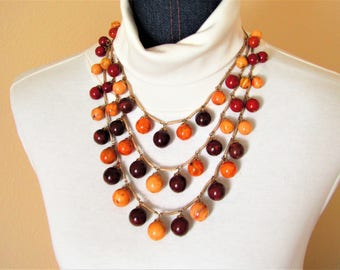 Triple Strand Autumn Swirl Color Vintage Plastic Beads Necklace