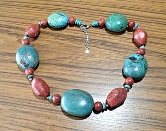 Sterling Silver Chunky Turquoise and Sponge Coral Necklace LUC 925 154 grams
