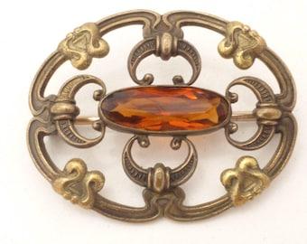 Antique E.I.F. & Co. Art Nouveau Honey Topaz Rhinestone Sash Brooch