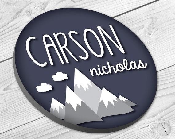 Circle Name Sign, Mountain, Nursery Decor, Woodland Nursery, Baby Name Sign, Nursery Art, Nursery Name Sign, Baby Boy Nursery, Wall Decor