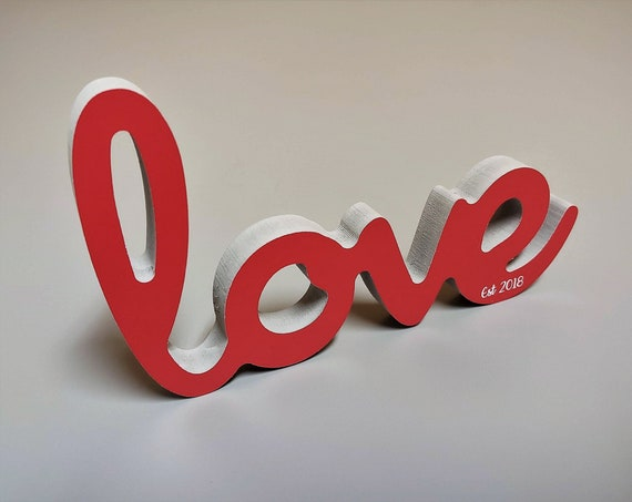 Freestanding Love Sign, Valentines Day Decoration,  Valentines Day Gift, Personalized Valentines Decor with Wedding Est. Year