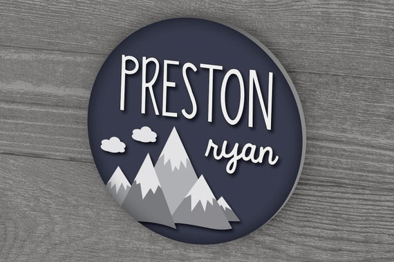 Round Name Sign, Mountain Nursery Decor, Woodland Nursery, Baby Name Sign, Nursery Art, Nursery Name Sign, Baby Boy Nursery, Wall Decor
