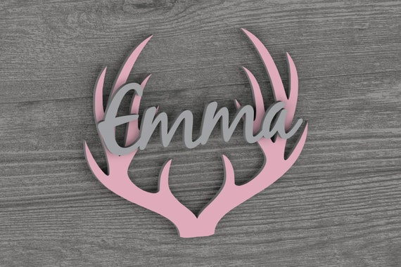 Woodland Nursery, Deer Antlers, Nursery Name Sign, Nursery Decor, Nursery Wall Art,  Farmhouse Decor, Baby Girl, Rustic