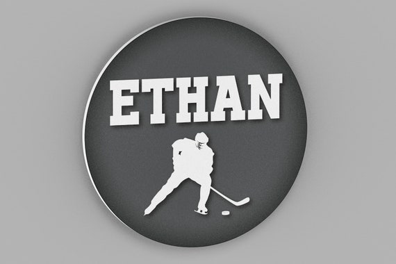 Round Personalized Hockey Name Sign - Hockey Room Decor