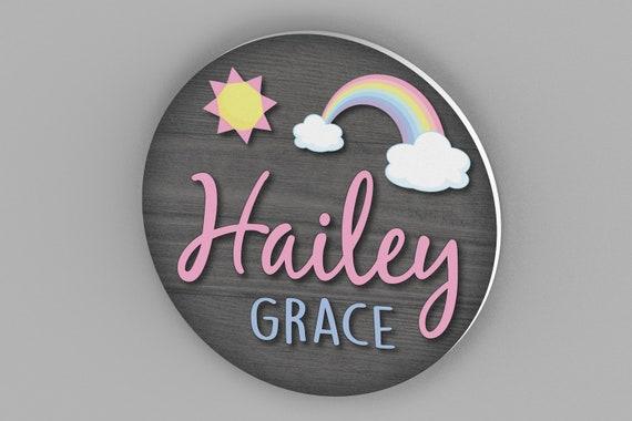 "20"" Round Name Sign, Nursery Decor, Nursery Wall Art, Nursery Name Sign, Baby Shower Gift, Baby Girl Gift, Rainbow, Baby Girl Nursery, Art"