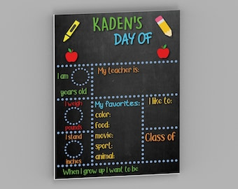 Personalized First and Last Day of School Sign - Reusable Back to School Sign Board - Chalkboard Style Sign