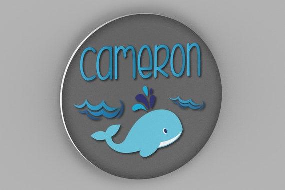 Nursery Name Sign, Whale Nursery Wall Decor, Nursery Wall Art, Nautical Whale Decor,