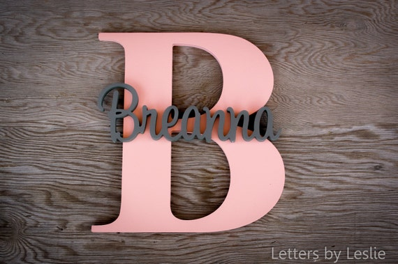 Large - Capital Letter with Name, Custom Name Sign, Nursery Decor, Nursery Art, Wall Art, Baby Shower Gift, Wood Letters, Lettering, Baby